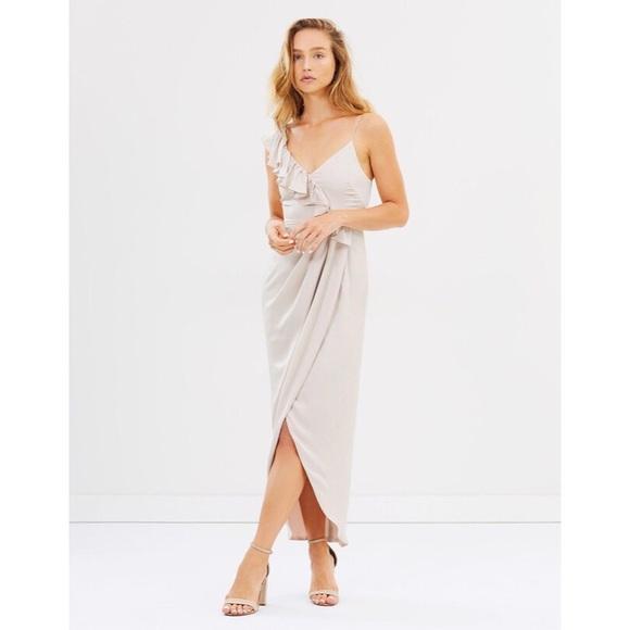 e3720efbfa3 ... Luxe Asymmetrical Frill Maxi Dress. M 5bde7532c9bf504b0a6d1c49